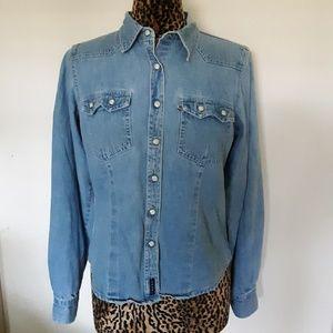 Cruel Girl Denim Country Western Button Down Shirt